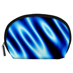 Grunge Blue White Pattern Background Accessory Pouches (Large)