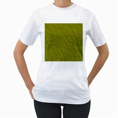 Olive Bubble Wallpaper Background Women s T-Shirt (White) (Two Sided)
