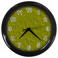 Olive Bubble Wallpaper Background Wall Clocks (black)