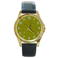 Olive Bubble Wallpaper Background Round Gold Metal Watch