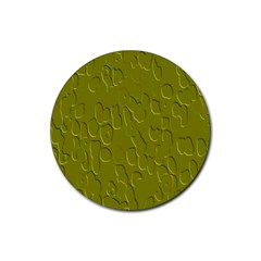 Olive Bubble Wallpaper Background Rubber Coaster (Round)