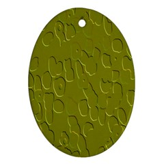Olive Bubble Wallpaper Background Oval Ornament (Two Sides)