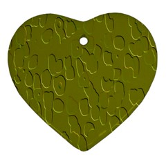 Olive Bubble Wallpaper Background Heart Ornament (two Sides)