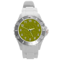 Olive Bubble Wallpaper Background Round Plastic Sport Watch (L)