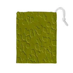 Olive Bubble Wallpaper Background Drawstring Pouches (Large)