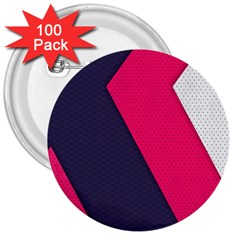 Pink Pattern 3  Buttons (100 Pack)