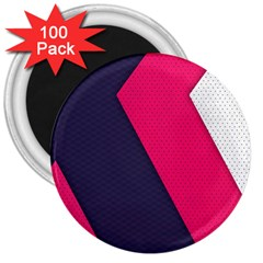 Pink Pattern 3  Magnets (100 Pack)