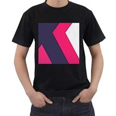 Pink Pattern Men s T-Shirt (Black)