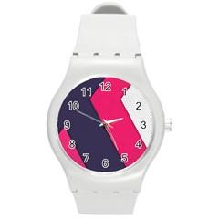 Pink Pattern Round Plastic Sport Watch (M)