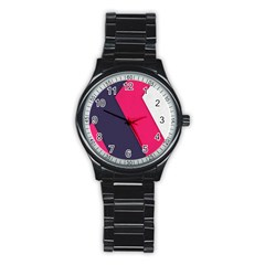 Pink Pattern Stainless Steel Round Watch