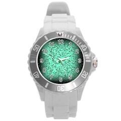 Grunge Rain Frame Round Plastic Sport Watch (l)
