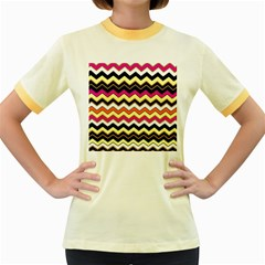 Colorful Chevron Pattern Stripes Pattern Women s Fitted Ringer T-Shirts
