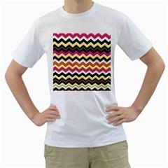 Colorful Chevron Pattern Stripes Pattern Men s T-Shirt (White) (Two Sided)