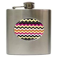 Colorful Chevron Pattern Stripes Pattern Hip Flask (6 oz)