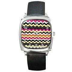 Colorful Chevron Pattern Stripes Pattern Square Metal Watch