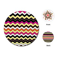 Colorful Chevron Pattern Stripes Pattern Playing Cards (Round)