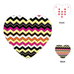 Colorful Chevron Pattern Stripes Pattern Playing Cards (Heart)