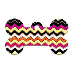 Colorful Chevron Pattern Stripes Pattern Dog Tag Bone (two Sides)