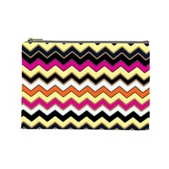 Colorful Chevron Pattern Stripes Pattern Cosmetic Bag (large)