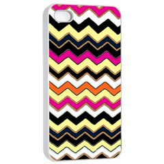 Colorful Chevron Pattern Stripes Pattern Apple iPhone 4/4s Seamless Case (White)