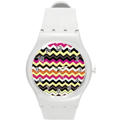 Colorful Chevron Pattern Stripes Pattern Round Plastic Sport Watch (M)