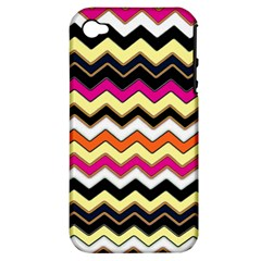 Colorful Chevron Pattern Stripes Pattern Apple iPhone 4/4S Hardshell Case (PC+Silicone)