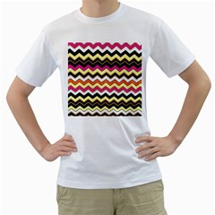 Colorful Chevron Pattern Stripes Pattern Men s T-Shirt (White)