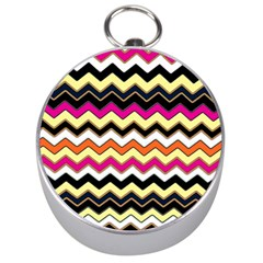 Colorful Chevron Pattern Stripes Pattern Silver Compasses