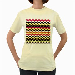 Colorful Chevron Pattern Stripes Pattern Women s Yellow T Shirt