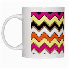 Colorful Chevron Pattern Stripes Pattern White Mugs