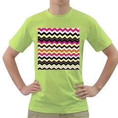 Colorful Chevron Pattern Stripes Pattern Green T-Shirt