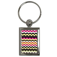 Colorful Chevron Pattern Stripes Pattern Key Chains (Rectangle)