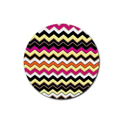 Colorful Chevron Pattern Stripes Pattern Rubber Round Coaster (4 pack)