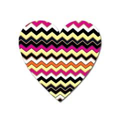 Colorful Chevron Pattern Stripes Pattern Heart Magnet