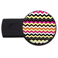 Colorful Chevron Pattern Stripes Pattern Usb Flash Drive Round (2 Gb)