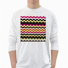 Colorful Chevron Pattern Stripes Pattern White Long Sleeve T-Shirts