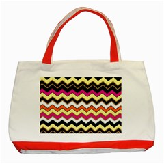 Colorful Chevron Pattern Stripes Pattern Classic Tote Bag (red)