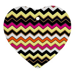 Colorful Chevron Pattern Stripes Pattern Heart Ornament (two Sides)