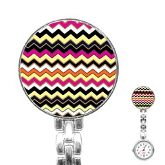 Colorful Chevron Pattern Stripes Pattern Stainless Steel Nurses Watch