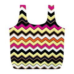 Colorful Chevron Pattern Stripes Pattern Full Print Recycle Bags (L)