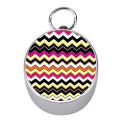 Colorful Chevron Pattern Stripes Pattern Mini Silver Compasses