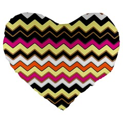 Colorful Chevron Pattern Stripes Pattern Large 19  Premium Flano Heart Shape Cushions