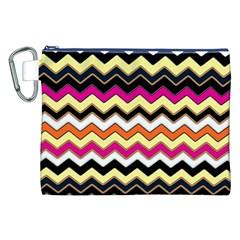 Colorful Chevron Pattern Stripes Pattern Canvas Cosmetic Bag (xxl)