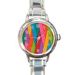 Colorful Lines Pattern Round Italian Charm Watch