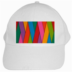 Colorful Lines Pattern White Cap