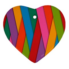Colorful Lines Pattern Ornament (heart)