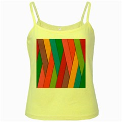 Colorful Lines Pattern Yellow Spaghetti Tank