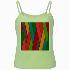 Colorful Lines Pattern Green Spaghetti Tank