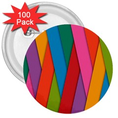 Colorful Lines Pattern 3  Buttons (100 pack)