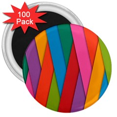 Colorful Lines Pattern 3  Magnets (100 Pack)